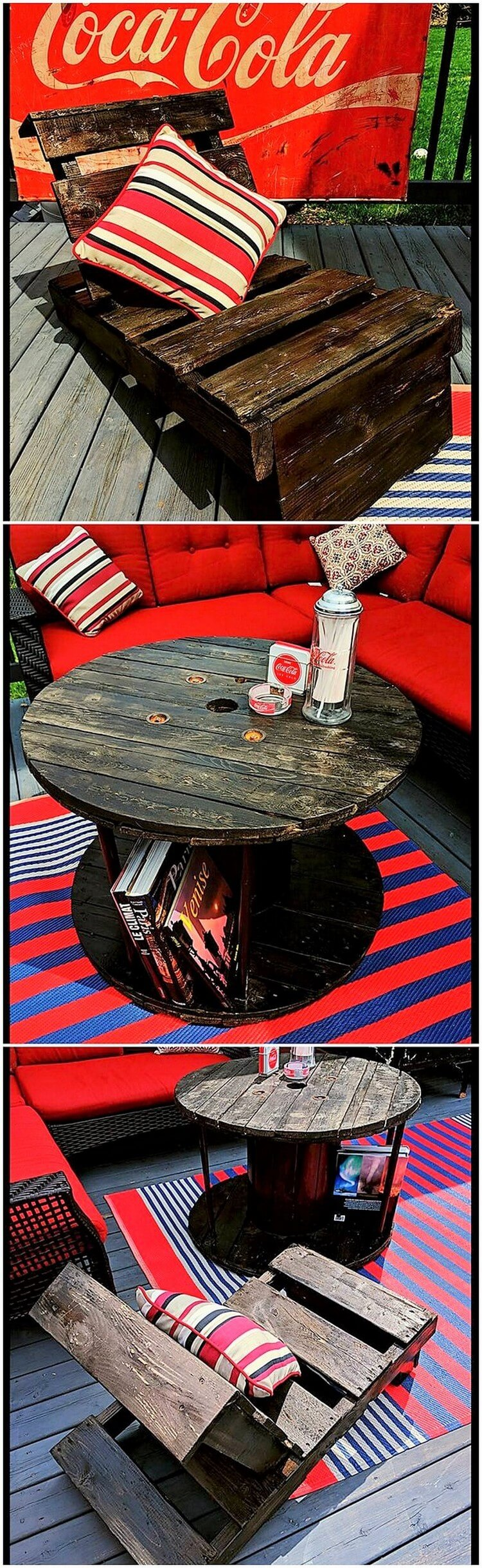 Pallet Adirondack Chair and Round Top Table