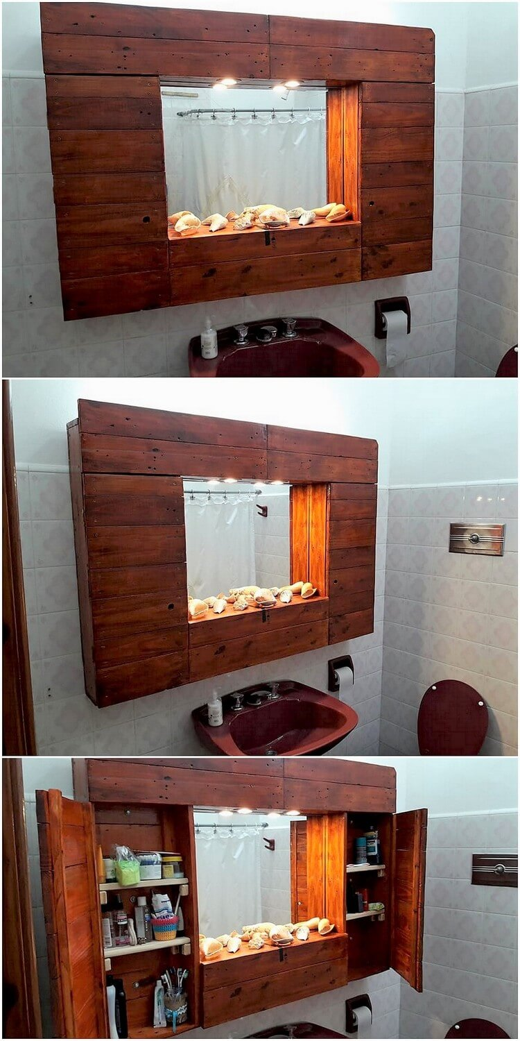 Pallet Bathroom Mirror Frame