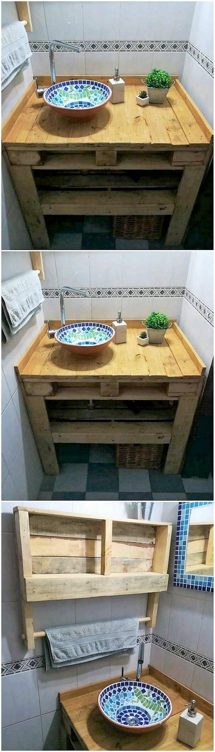 Pallet Bathroom Sink and Towel Rack
