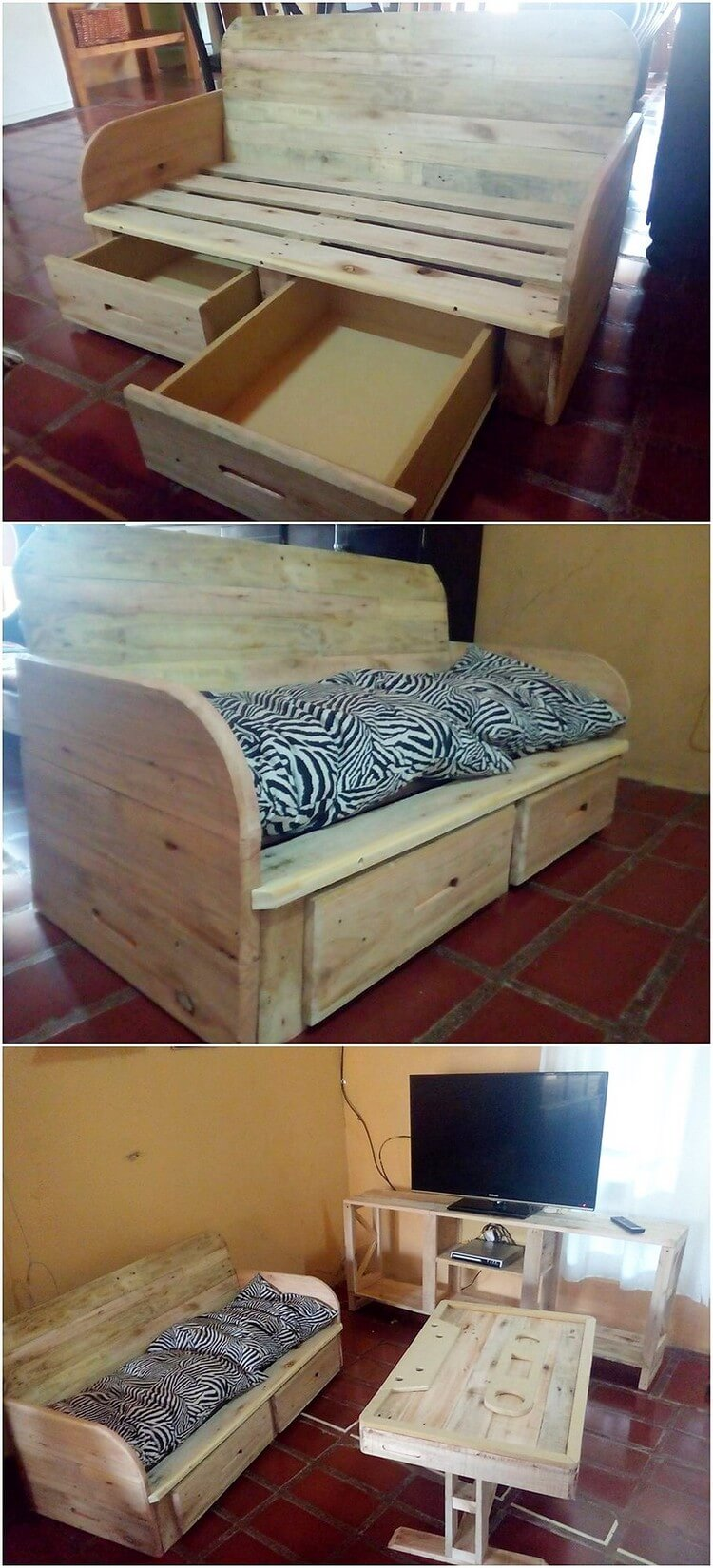 Pallet Couch with Drawers and Media Table