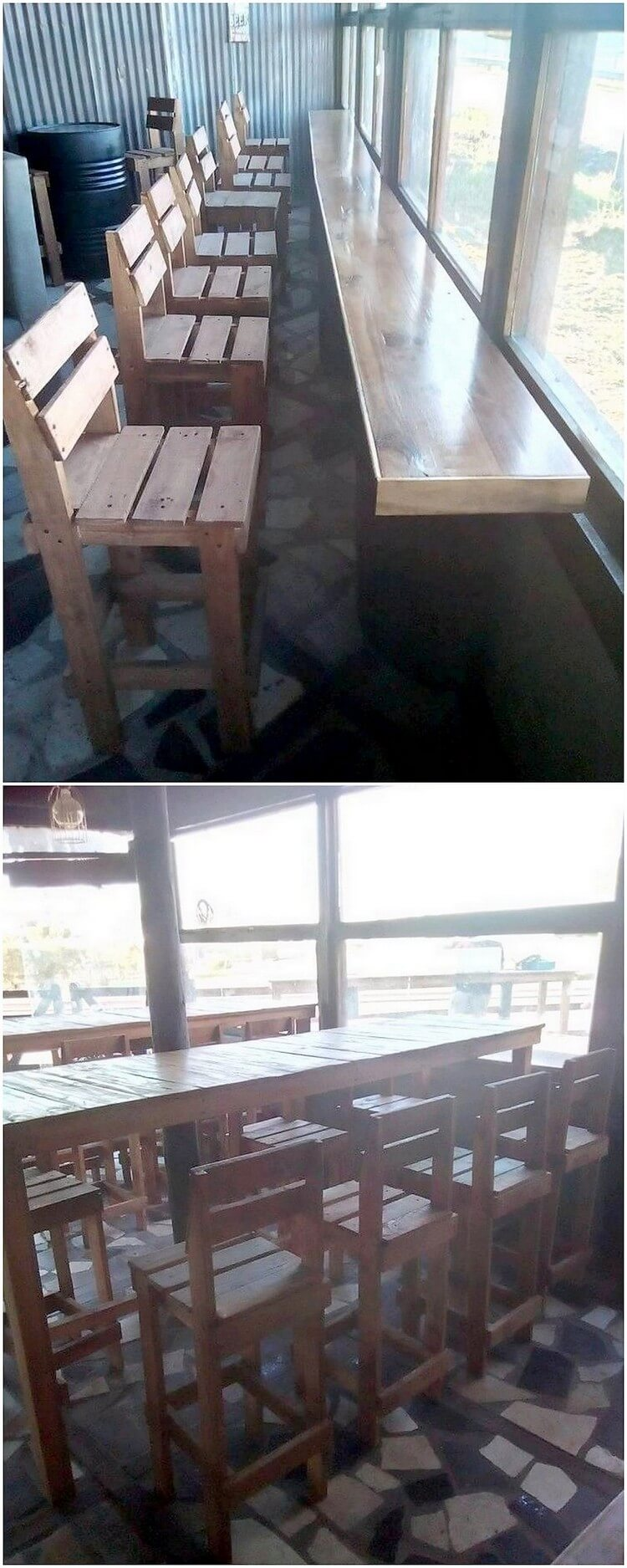 Pallet Desk and Chairs