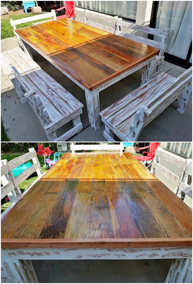 Pallet Dining Table and Benches
