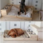 Pallet Dog Bed with Food Feeder