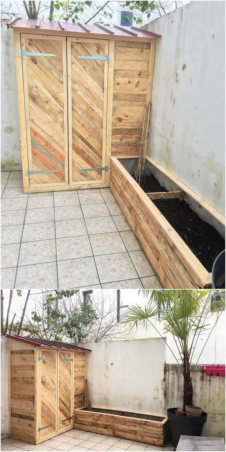Pallet Garden Shed and Planter