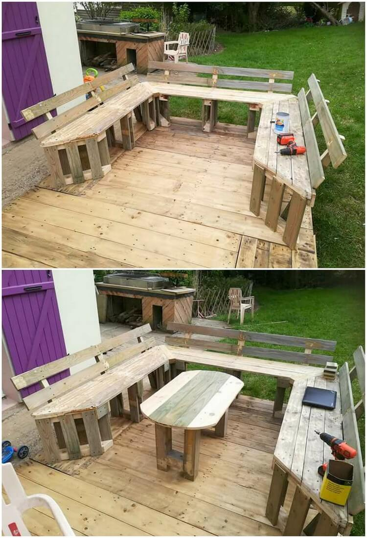 Pallet Garden Terrace with Couch and Table