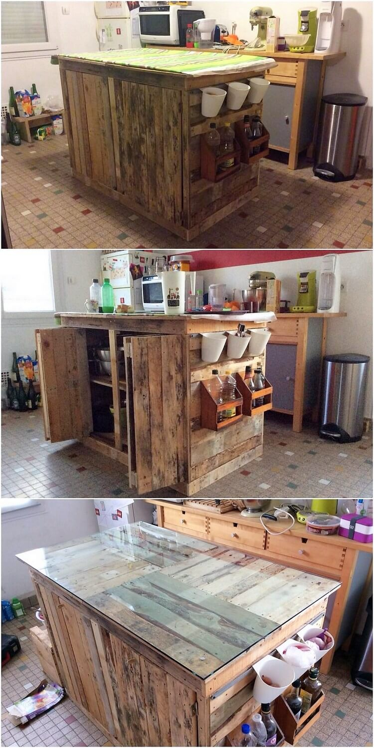 Pallet Kitchen Island Table or Cabinet