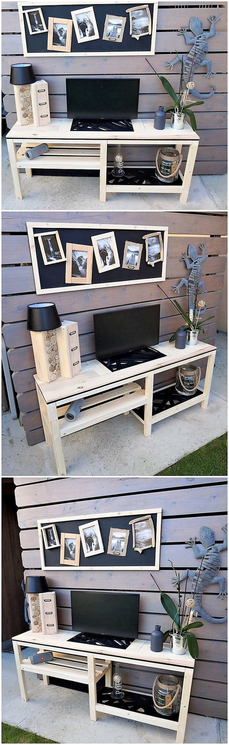 Pallet Media Table and Wall Decor
