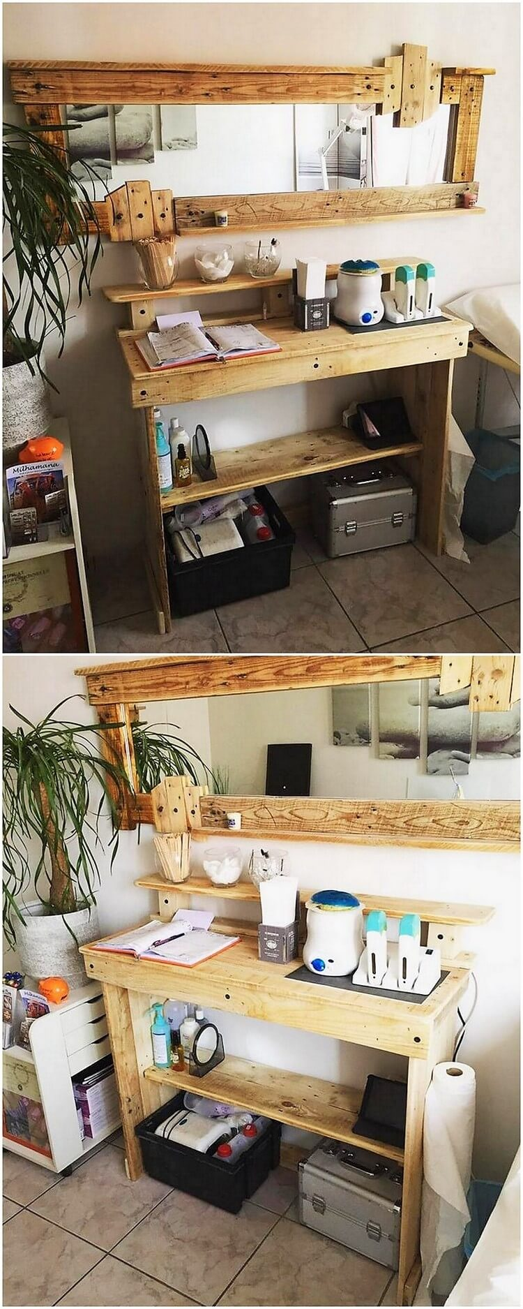 Pallet Mirror Frame and Study Table