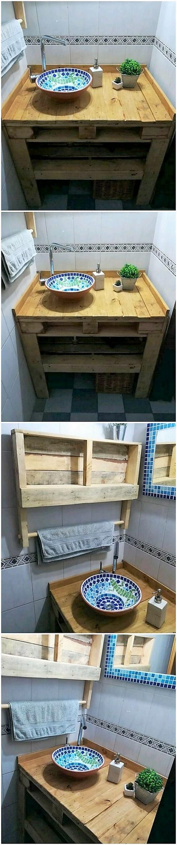 Pallet Sink and Towel Rack