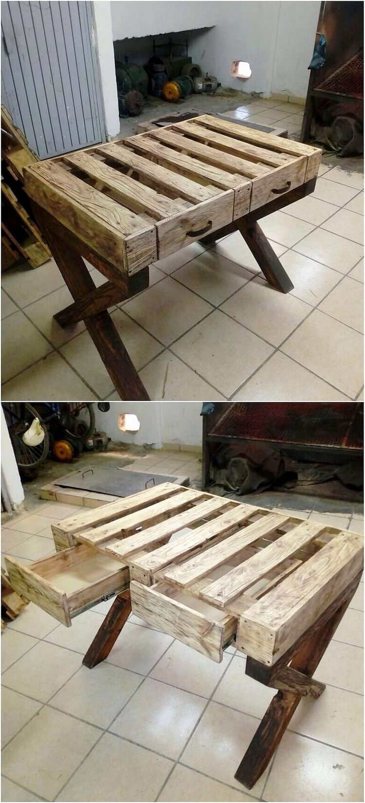 Pallet Table with Drawers