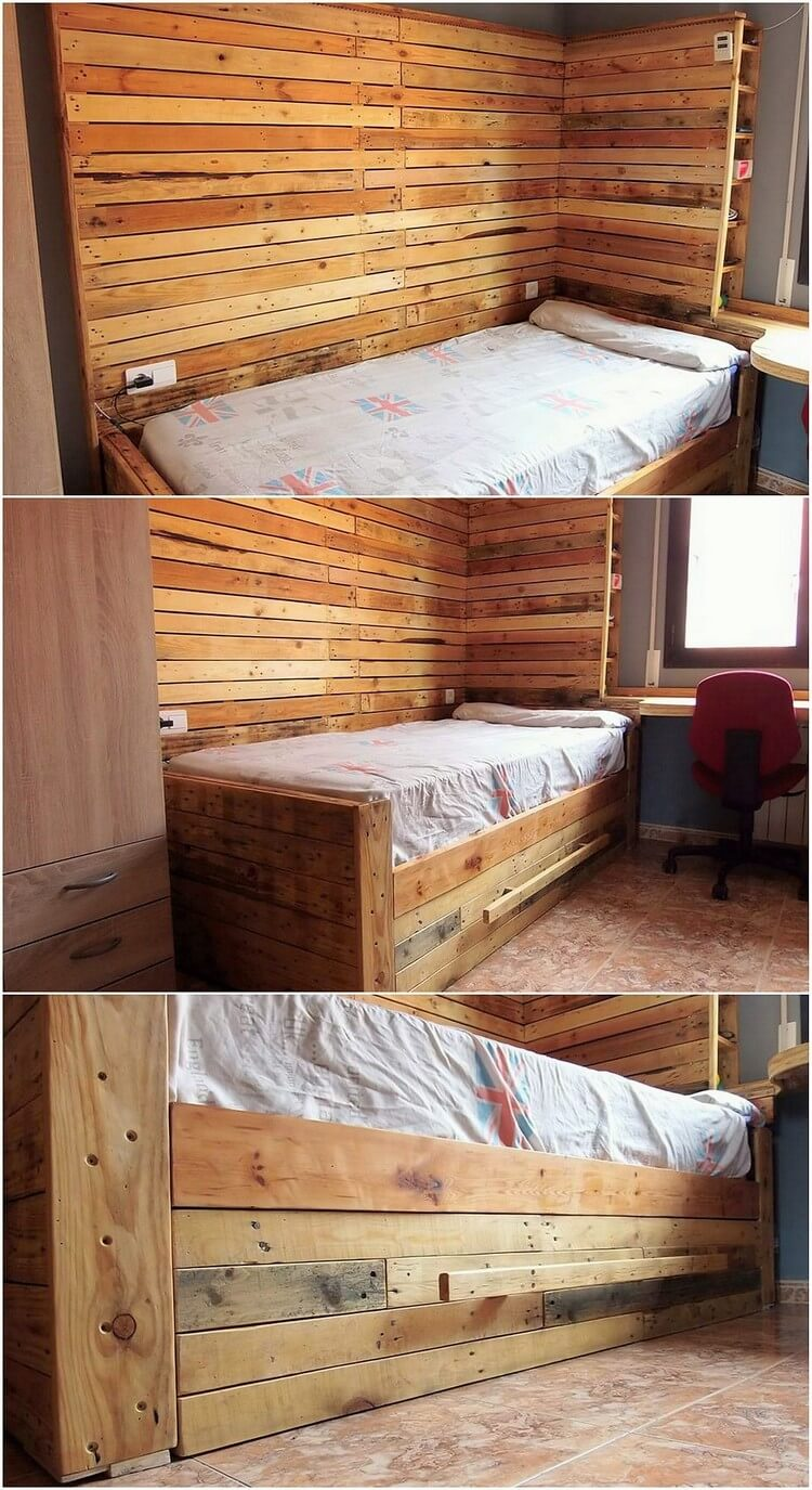 Pallet Wall Paneling and Bed with Drawers