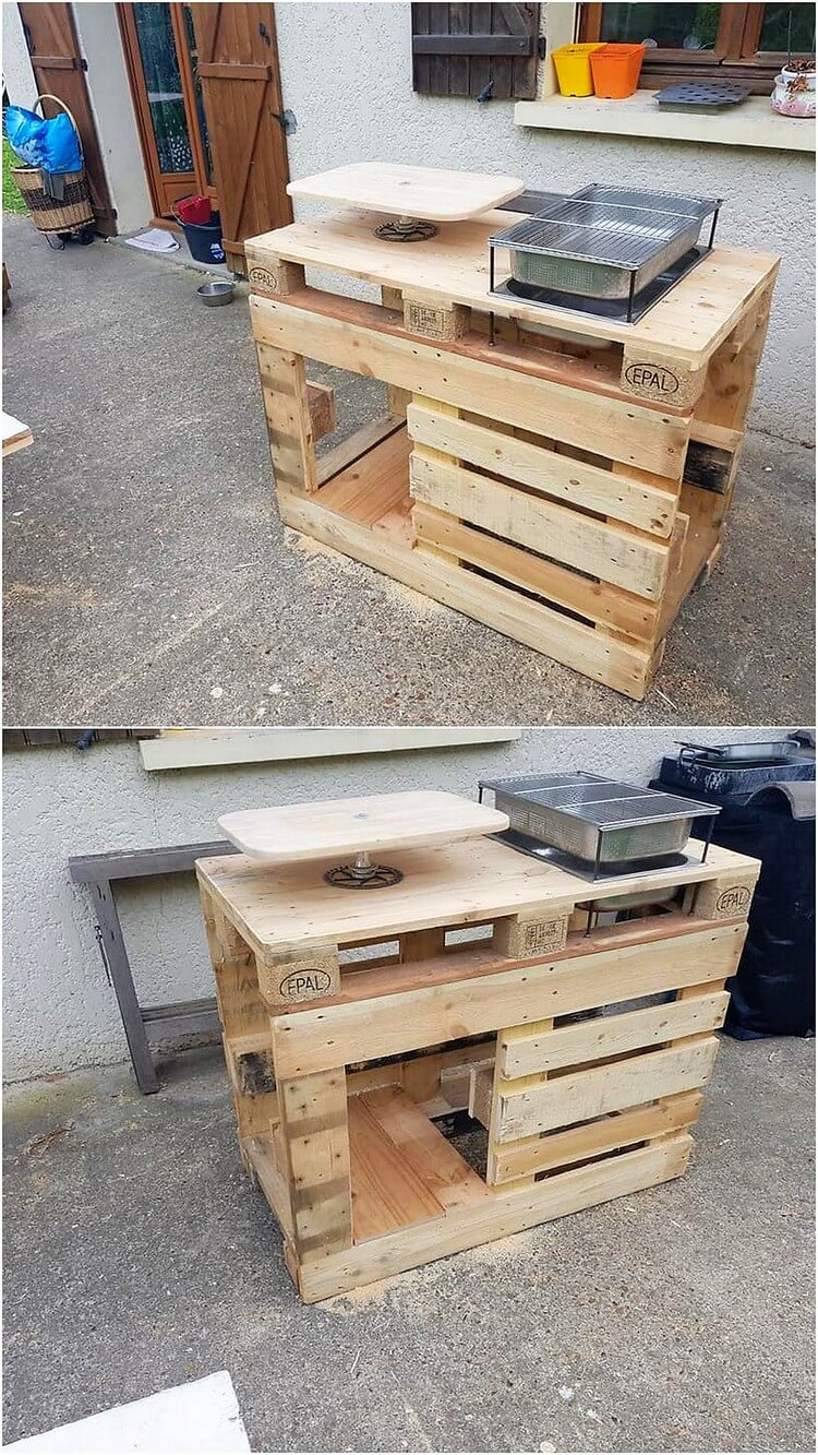 Wood Pallet Grill Table