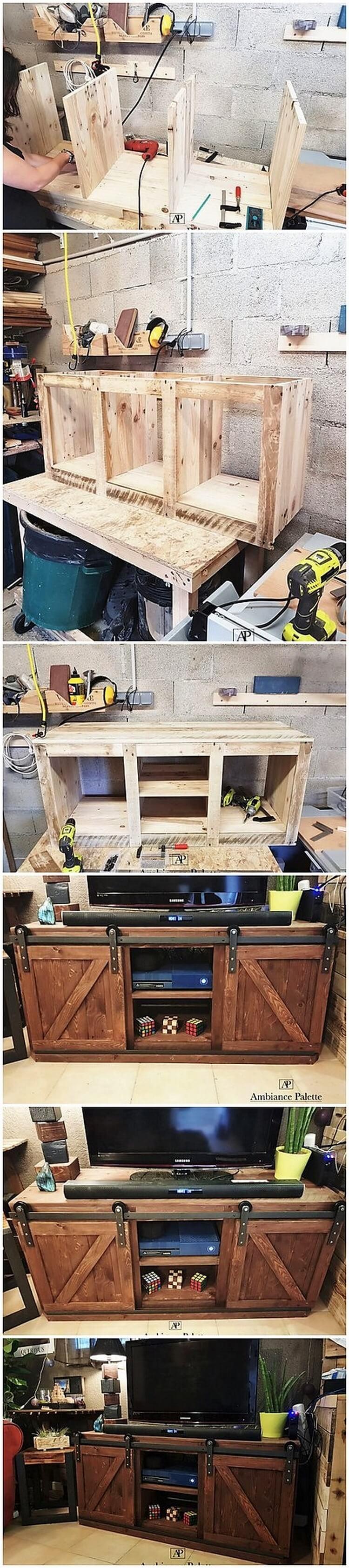 DIY Pallet Media Cabinet