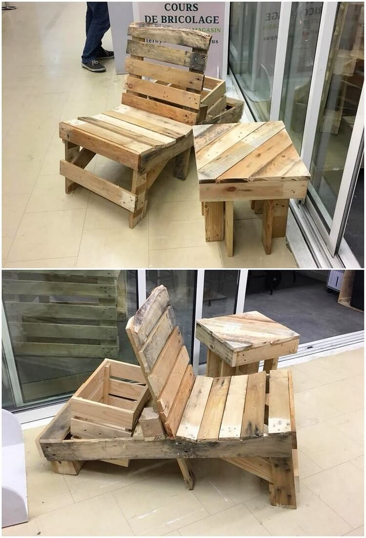 Pallet Adironadack Chair and Table