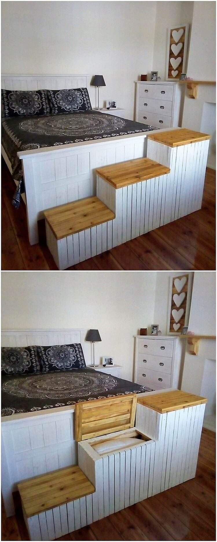 Pallet Bed with Stairs