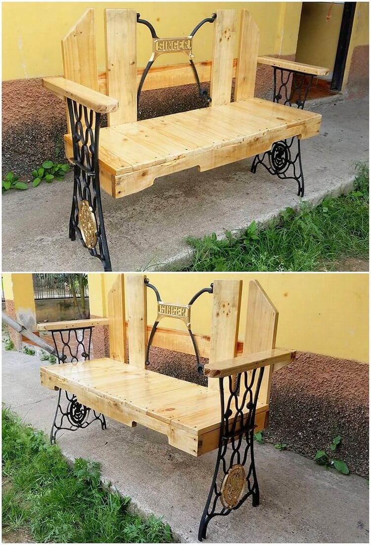 Pallet Bench with Steel Frame