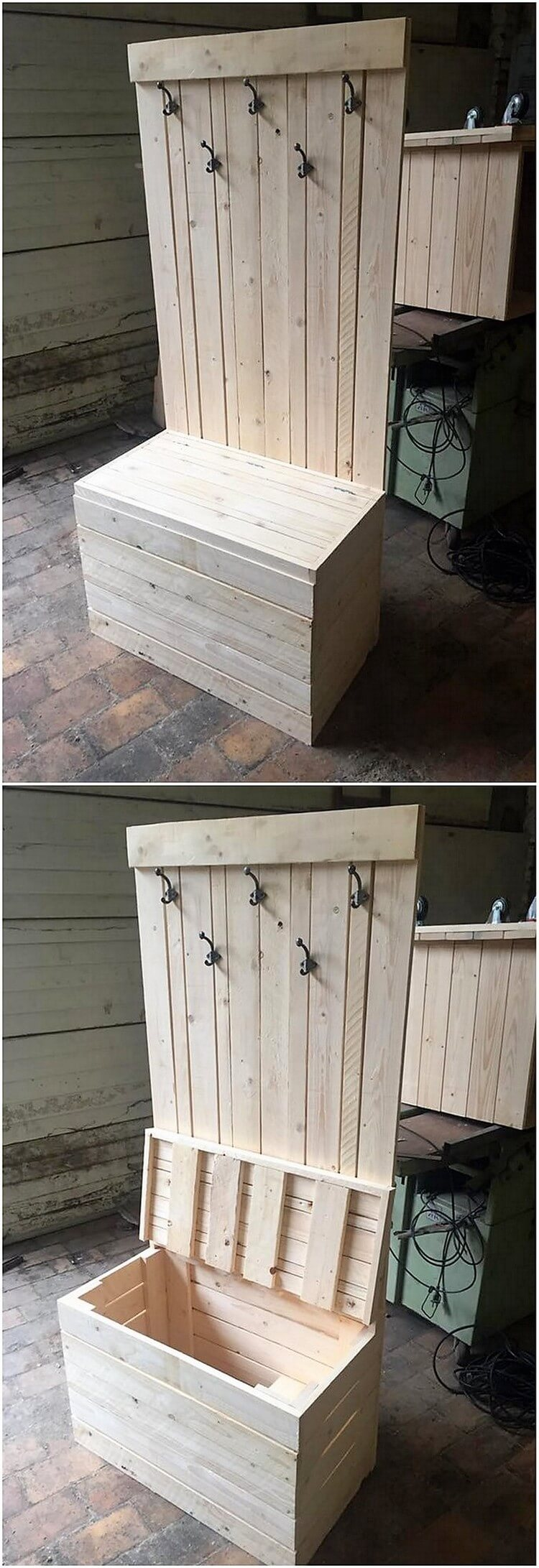 Pallet Coat Rack and Seat with Storage