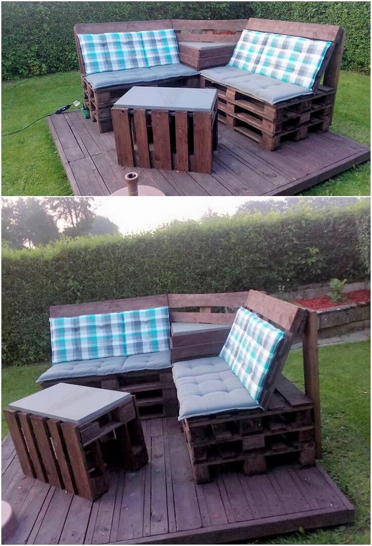 Pallet Couch and Table with Terrace