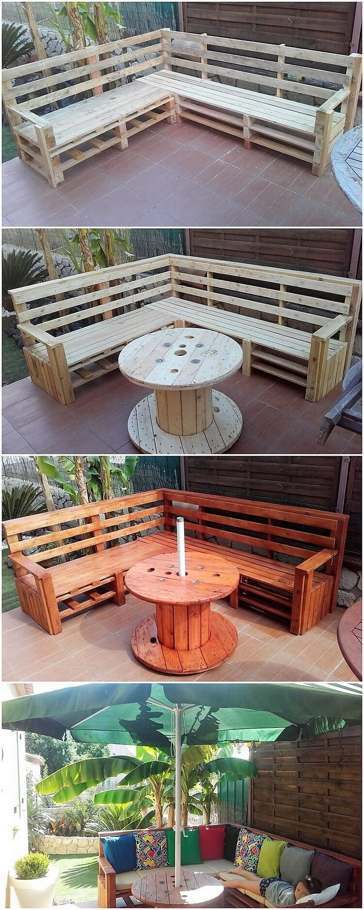 Pallet Garden Couch and Round Top Table