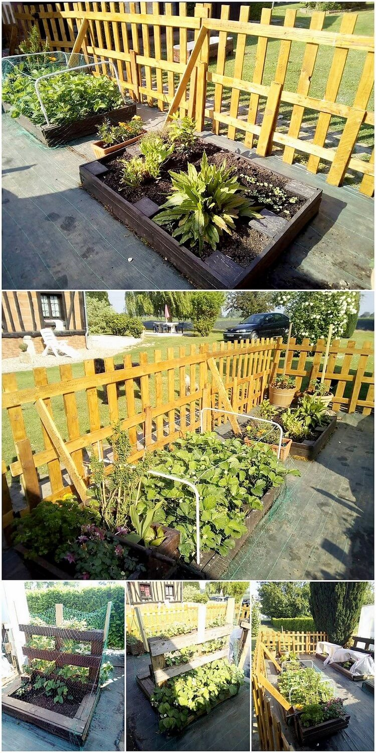 Pallet Garden Fence and Planters