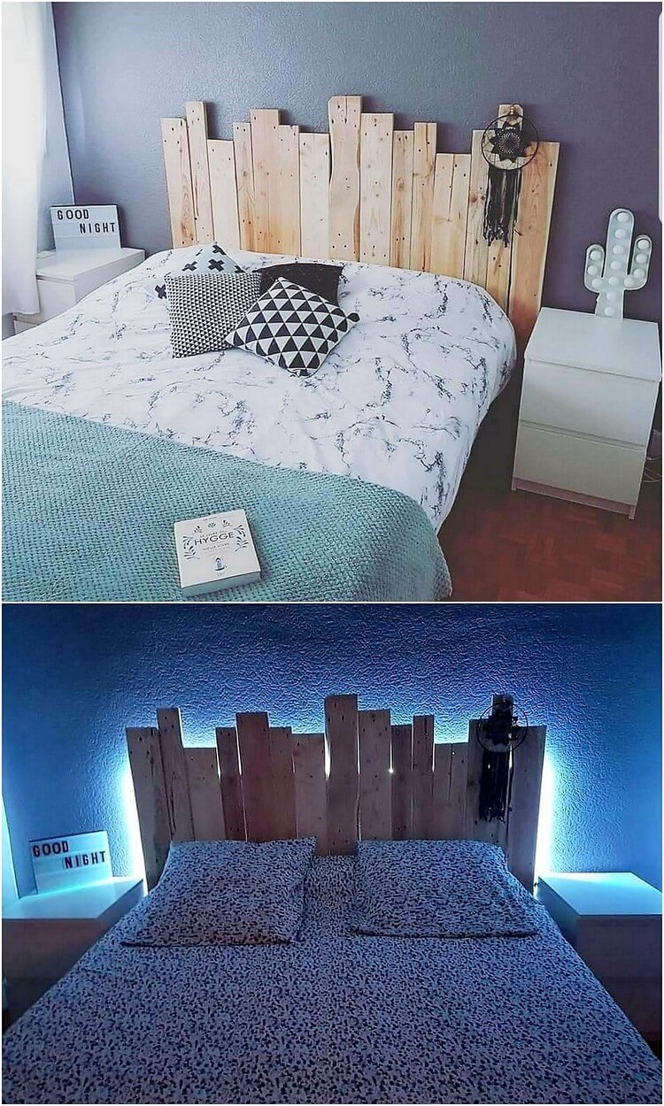 Pallet Headboard with Lights