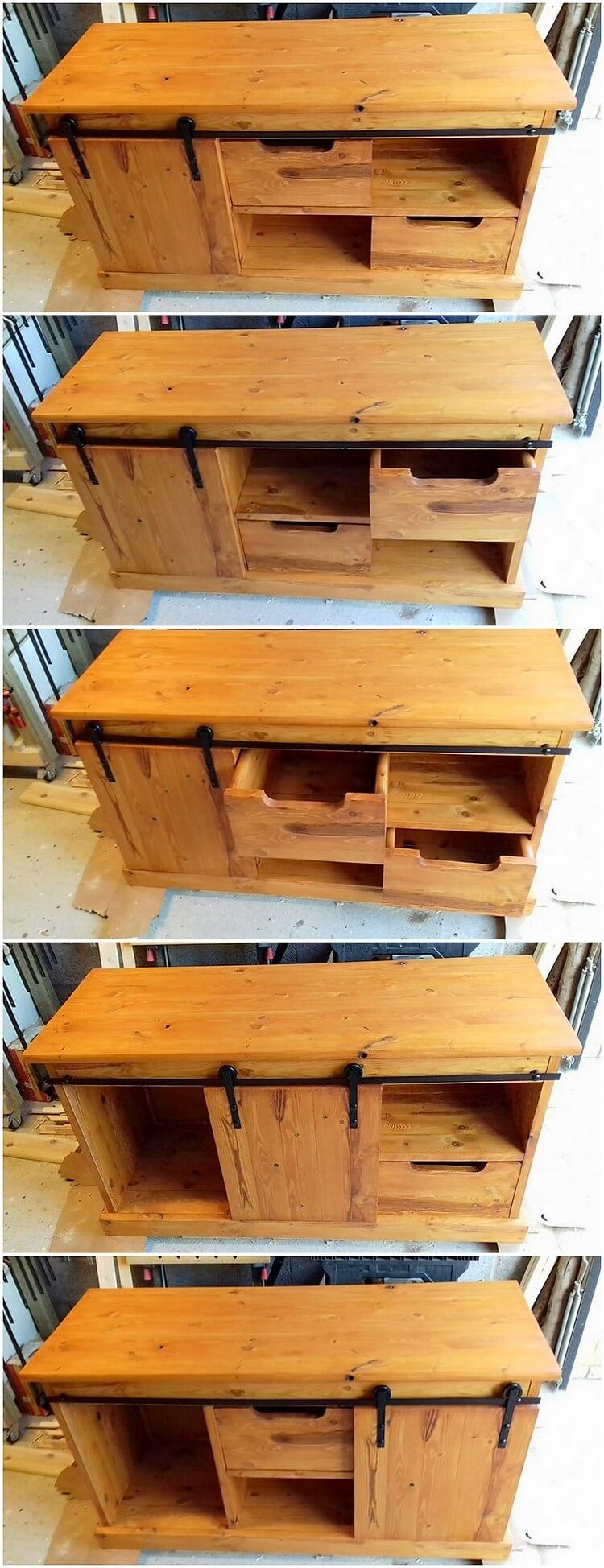 Pallet Media Table with Sliding Door