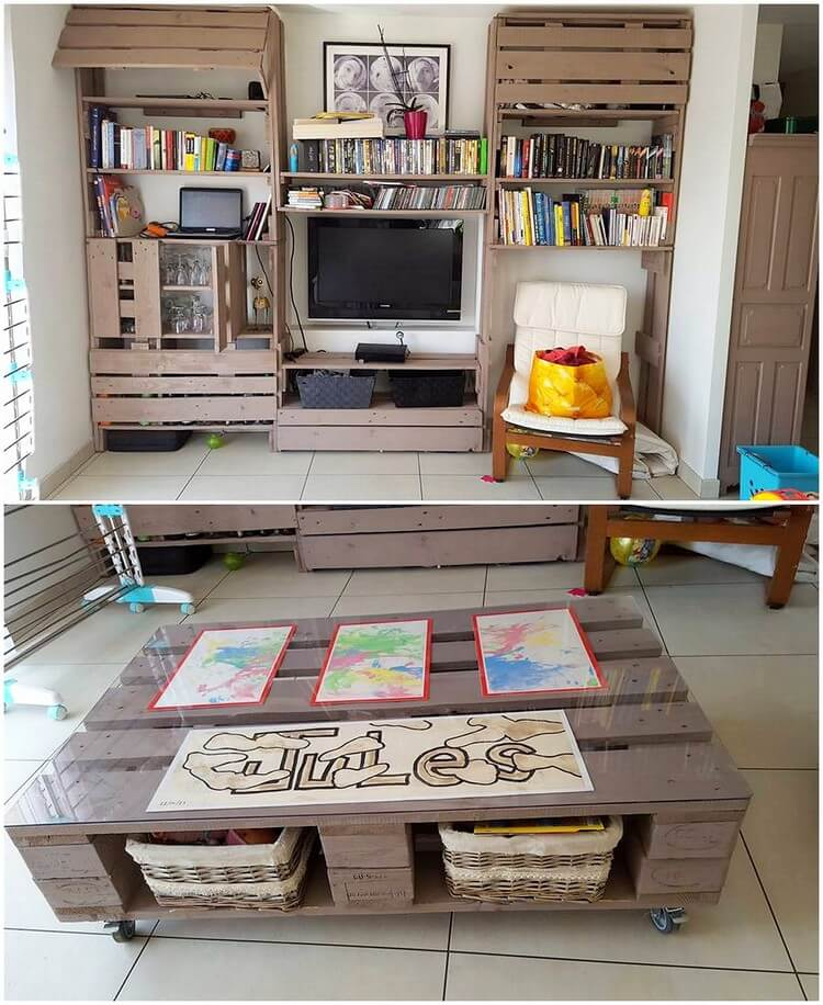 Pallet Media Unit with Bookshelf and Table
