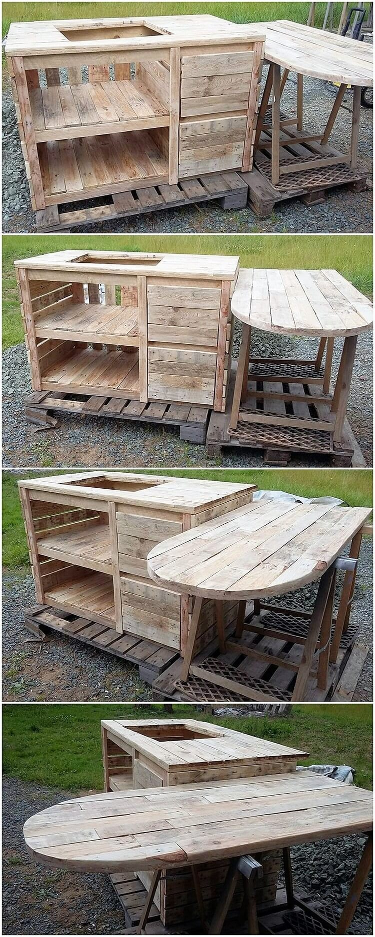 Pallet Outdoor Kitchen with Folding Table