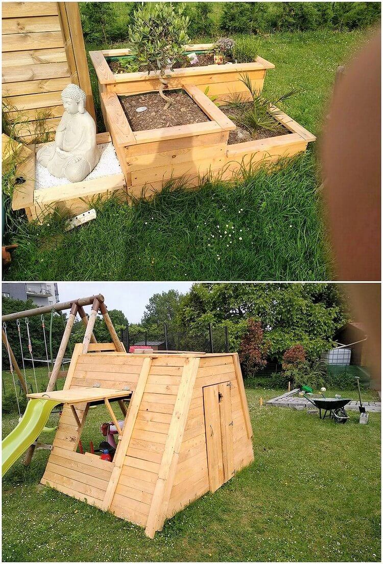 Pallet Planter and Playhouse