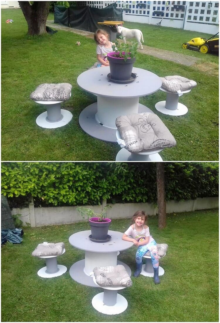 Pallet Round Top Table and Seats