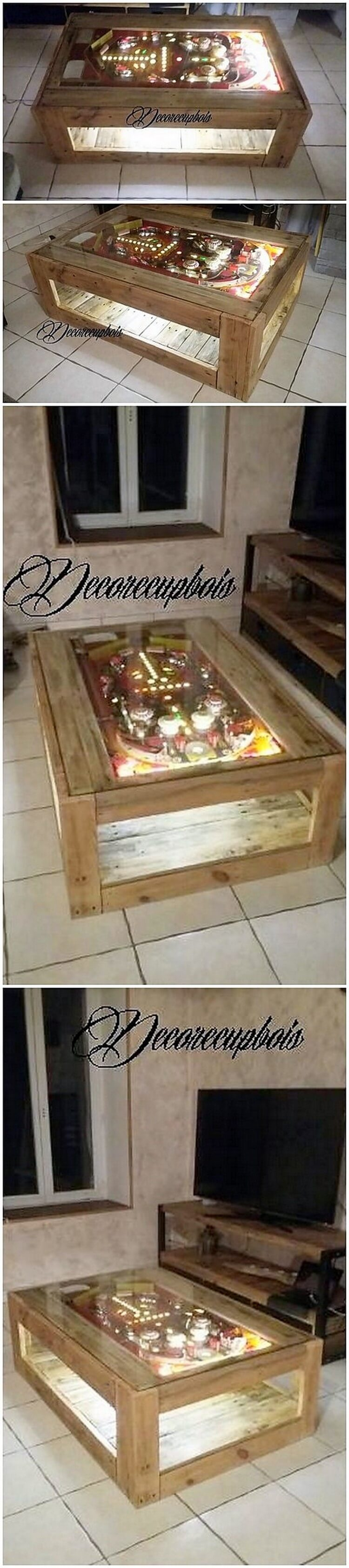 Pallet Table with Lights