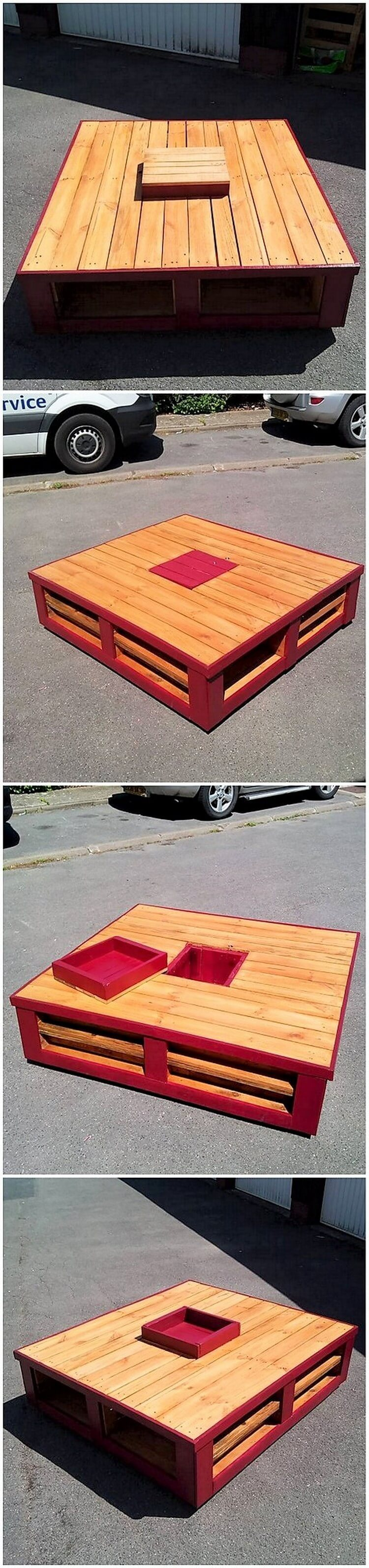 Pallet Table with Storage