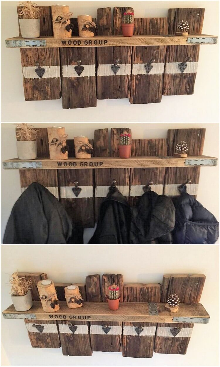 Pallet Wall Shelf with Coat Rack