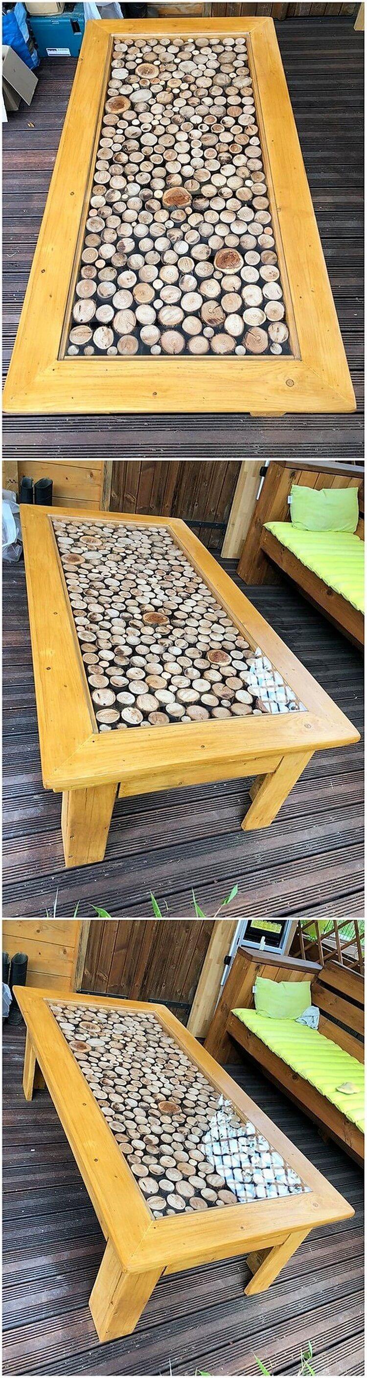 Unique Pallet Glass Top Table