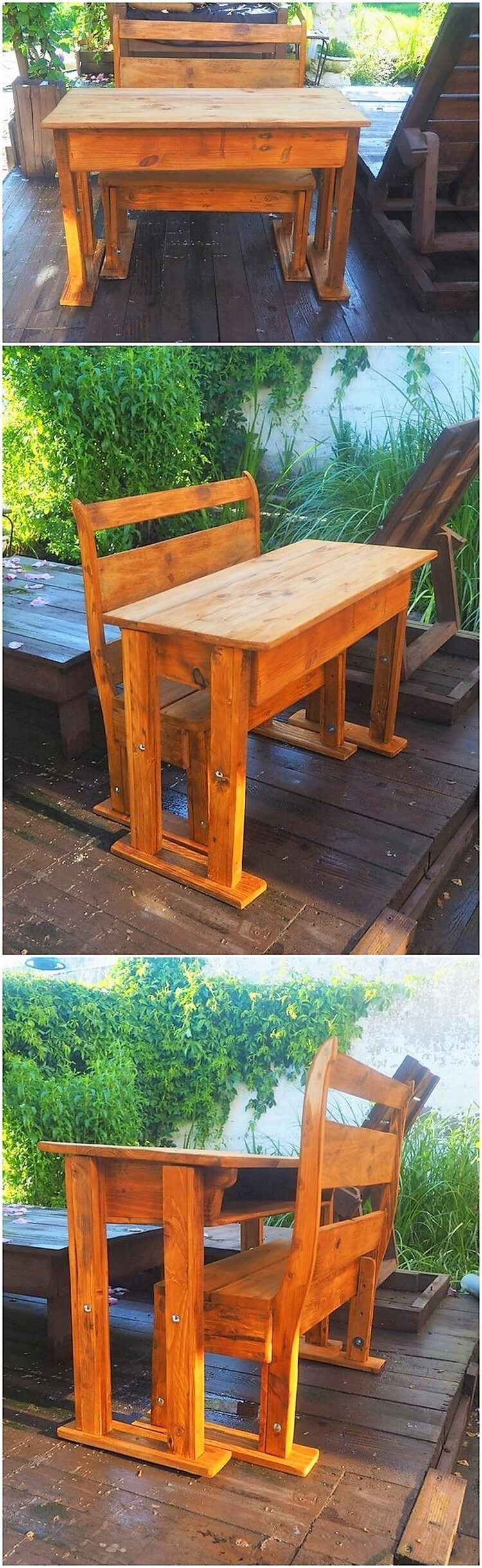 Wooden Pallet Bench and Table