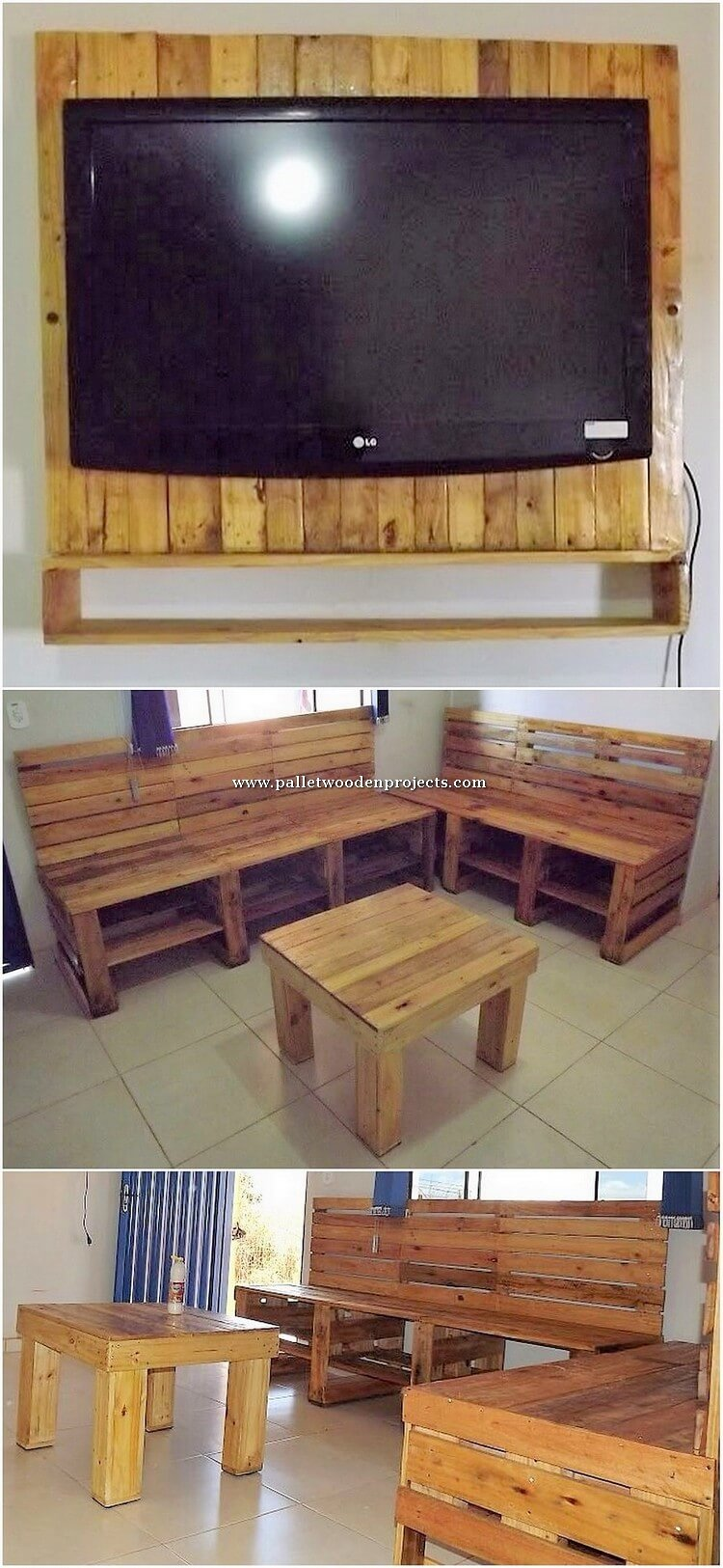 Pallet Wall LED Holder and Furniture