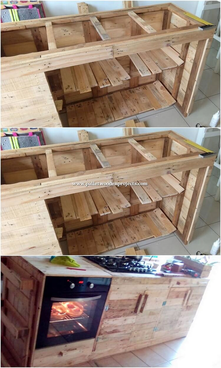 DIY Pallet Kitchen Island Table with Cabinet