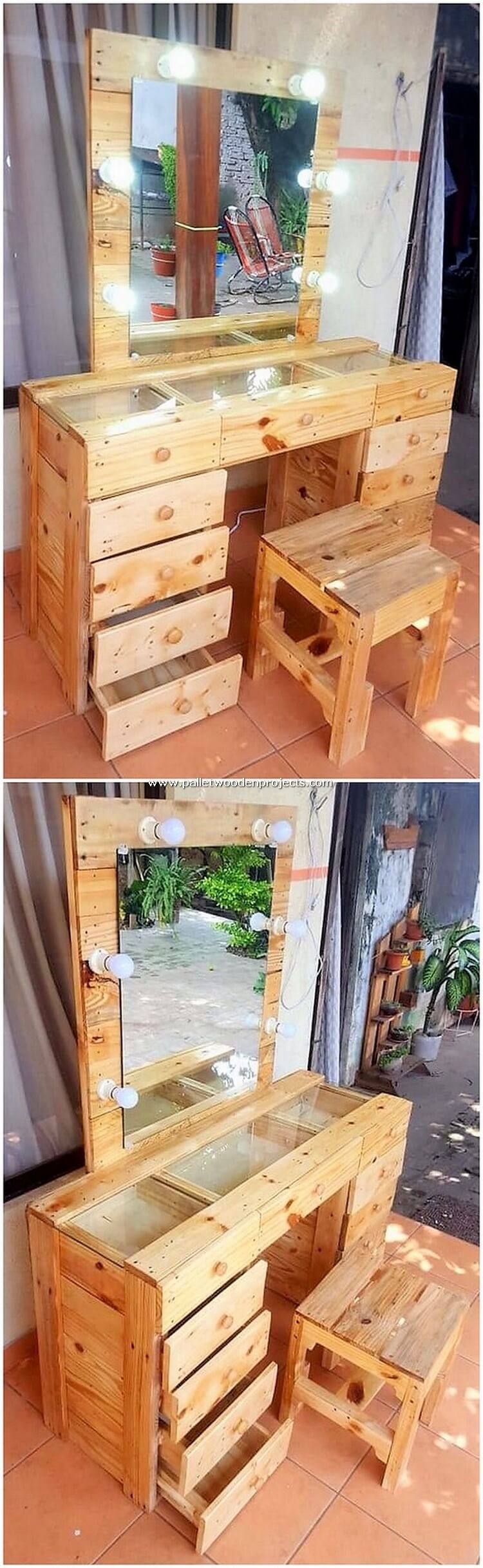 Pallet Dressing Table with Drawers and Stool