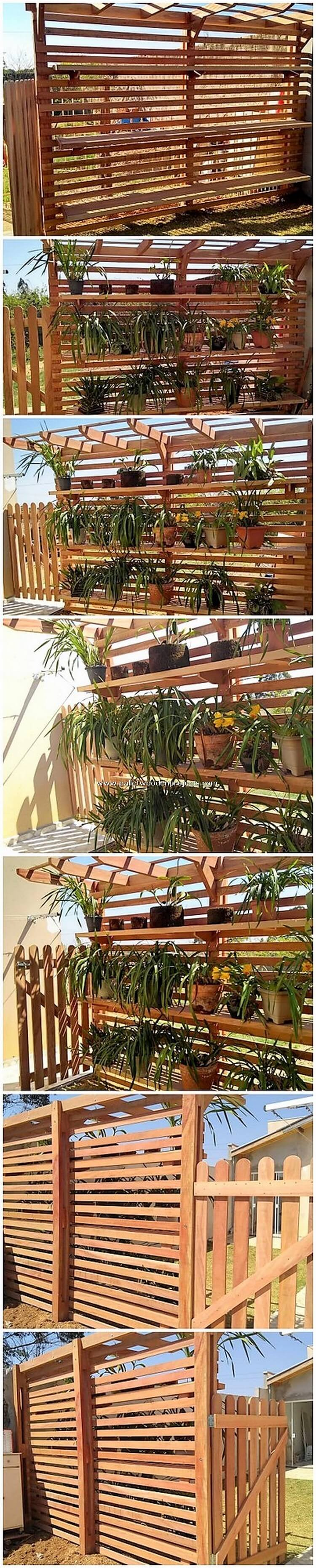 Pallet Garden Fence with Planter Pots Stands