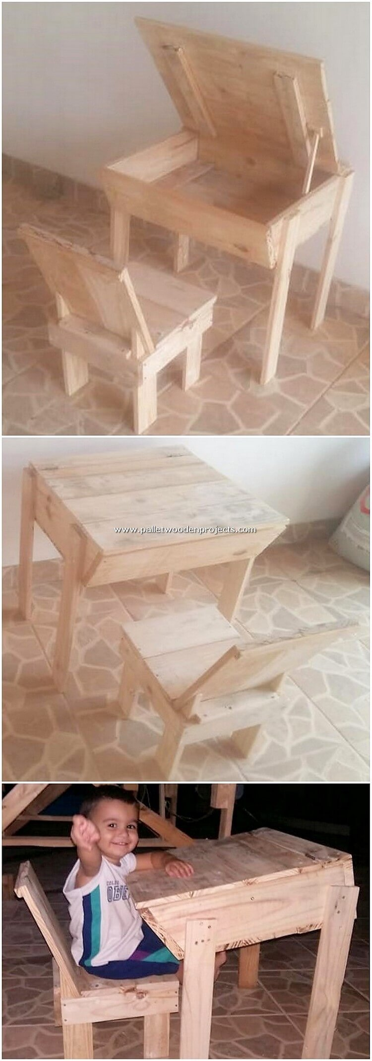 Pallet Study Table with Storage and Chair