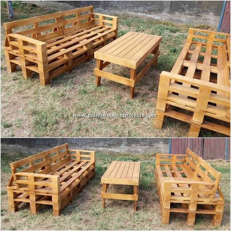 Wood Pallet Garden Benches and Table