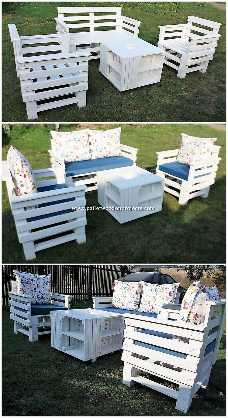 Wooden Pallet Couch Set and Table
