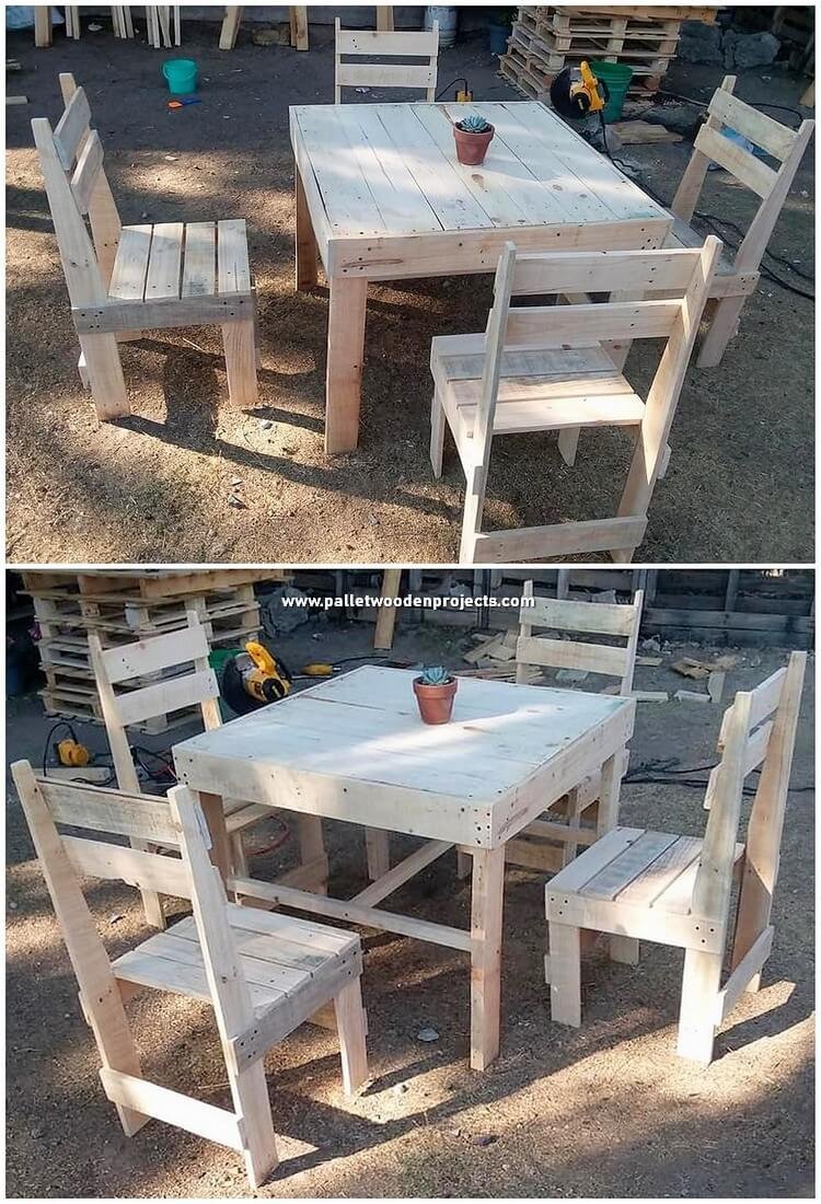 Pallet Outdoor Table and Chairs