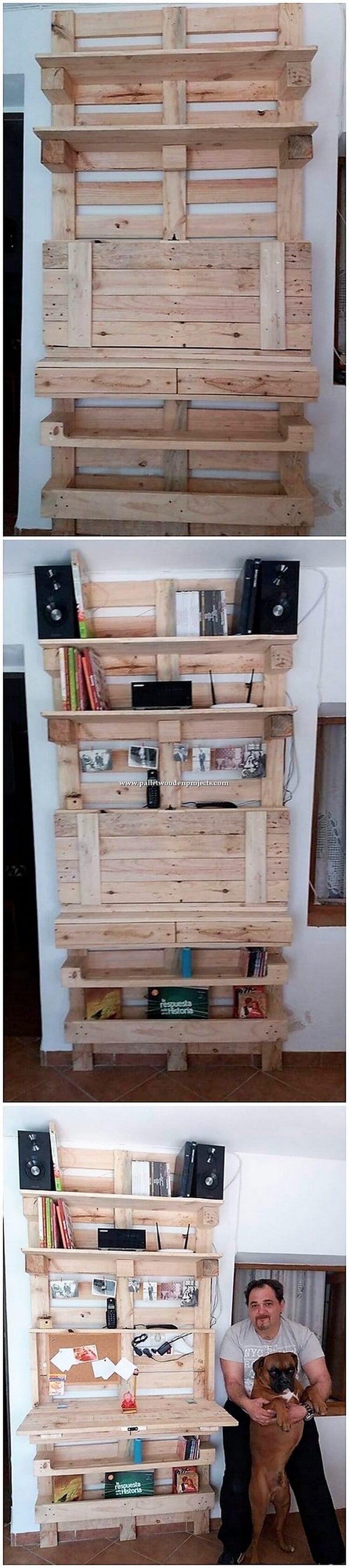 Pallet Shelving Unit with Folding Desk